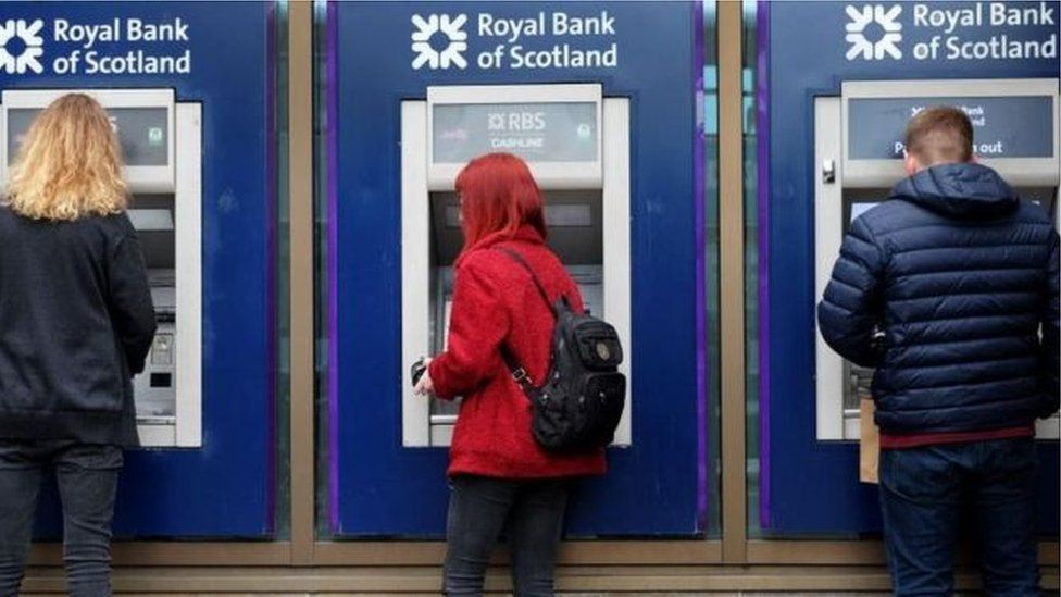 RBS customers at cash machines
