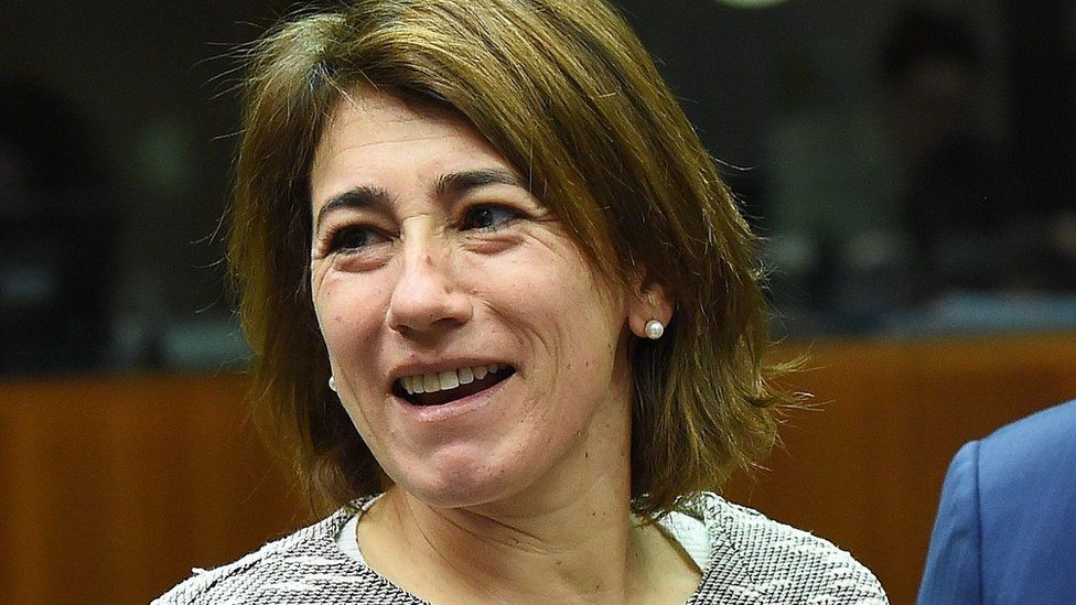 Portugal's Interior Minister Constanca Urbano de Sousa pictured smiling in a close-up