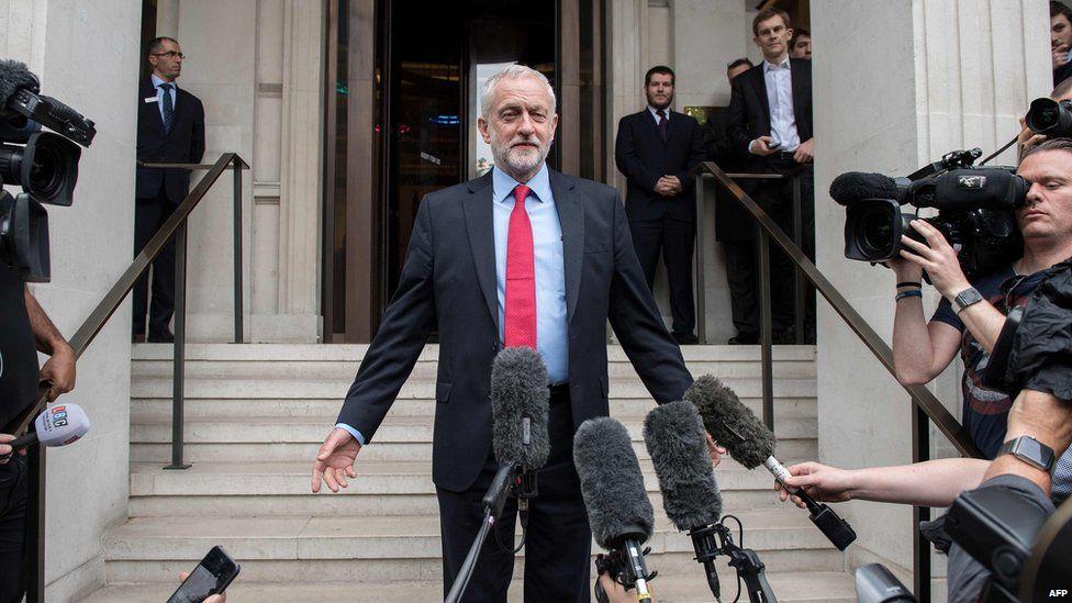 Jeremy Corbyn at a press conference
