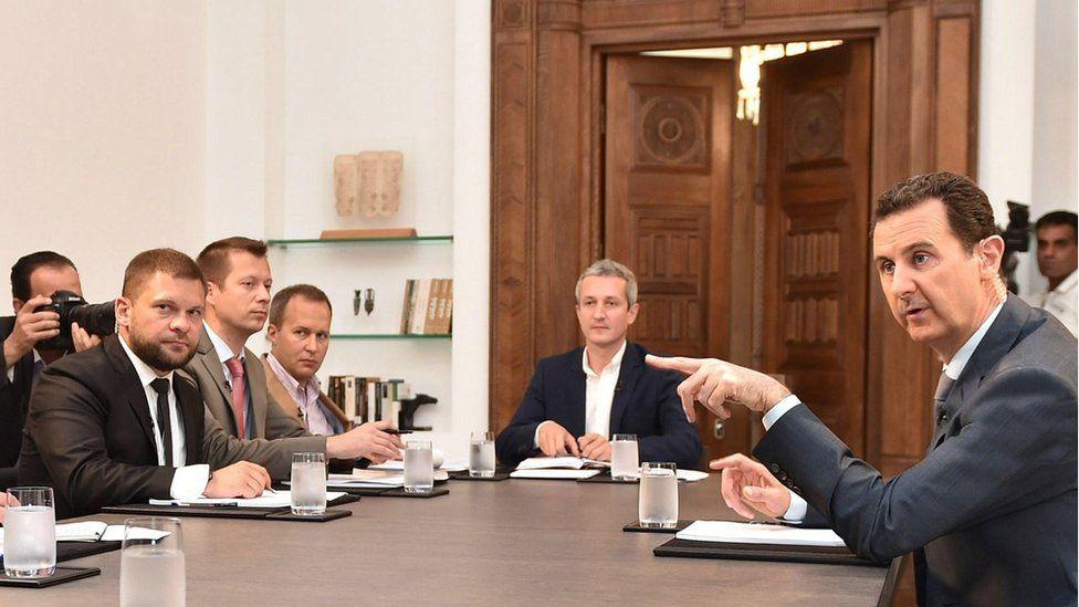 Syrian President Bashar al-Assad speaking to Russian journalists in Damascus (file photo - 15 September)