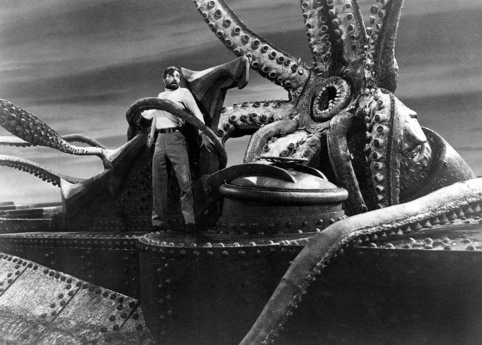 Scene from 20,000 Leagues Under the Sea, James Mason, 1954