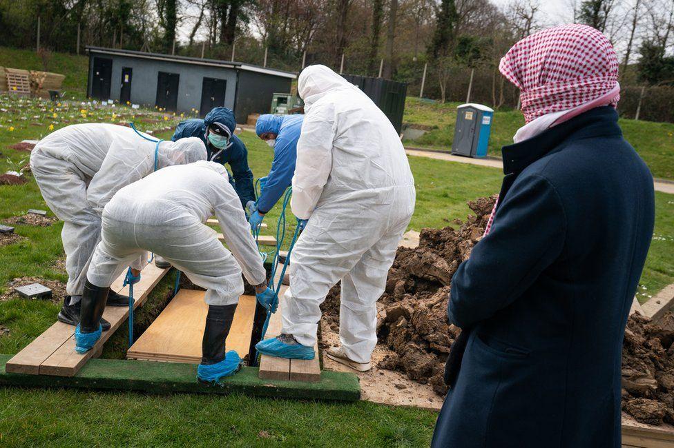 People in hazmat suits burying a coffin