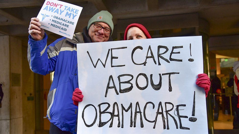 Demonstrators in Pennsylvania rallied against the repeal of the Affordable Care Act in December