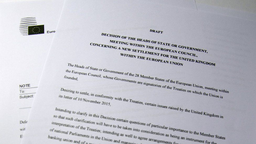 Copy of draft EU reform proposals issued by Donald Tusk on 2 February 2016