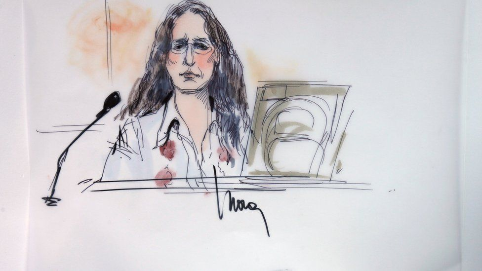 "Janet Wolfe, sister of the late Randy California is shown sitting in federal court for a hearing in a lawsuit involving Led Zeppelin""s rock classic song ""Stairway to Heaven"" in this courtroom sketch in Los Angeles, California 14 June 2016."