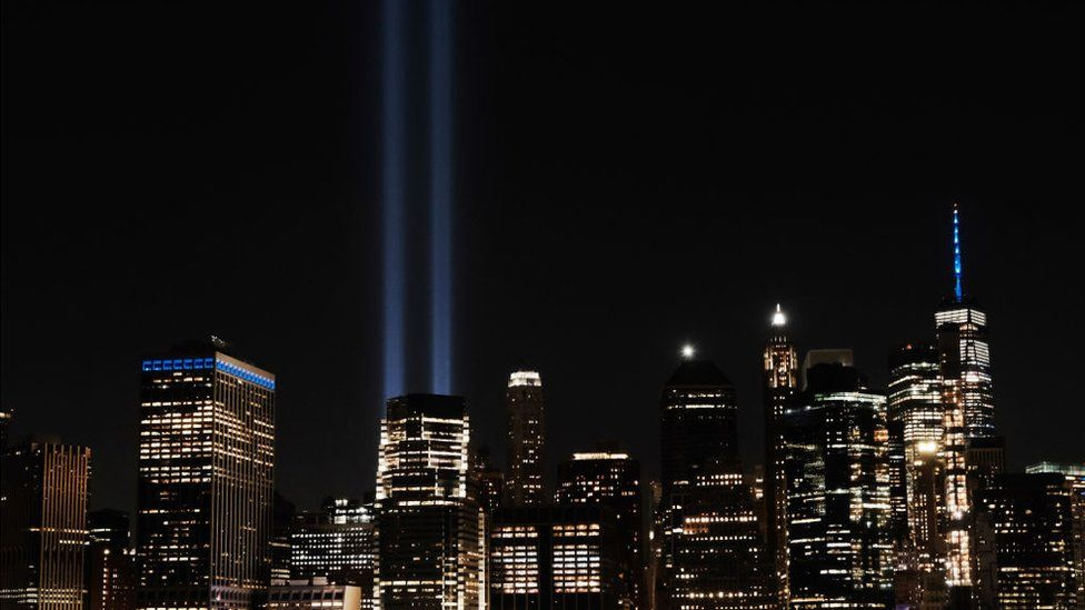 Two beams of light over lower Manhattan