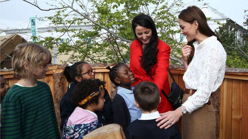 The Duchess of Cambridge shows schoolchildren around her garden