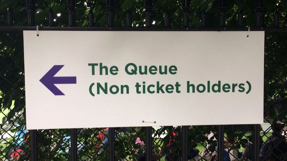 Sign for the queue