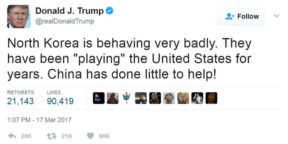 "Tweet from @realdonaldtrump: ""North Korea is behaving very badly. They have been ""playing"" the United States for years. China has done little to help!"""