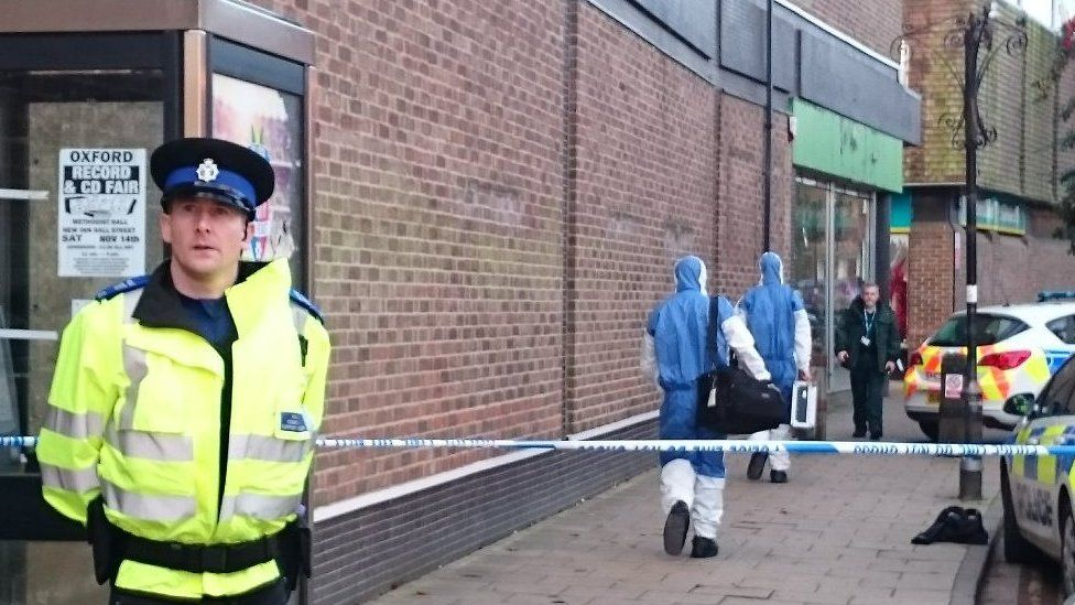 Forensic teams arrives at the scene of the stabbing in Abingdon