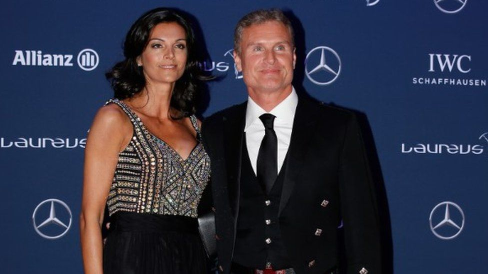 David Coulthard with wife Karen Minier