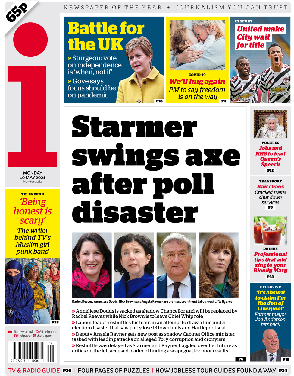 The i front page 10 May 2021