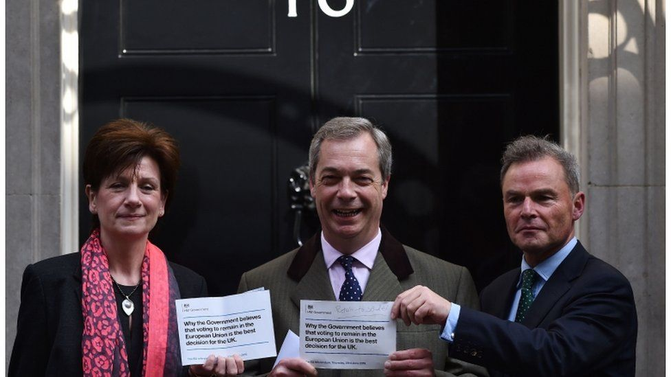 Nigel Farage and other UKIP representatives delivering a petition to Downing Street