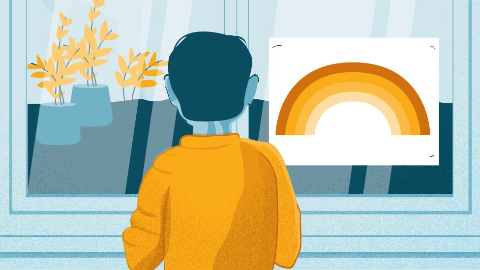 Illustration of a boy looking out of a window with plants and a rainbow picture
