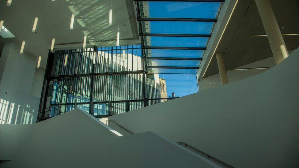 A stairway inside Pontio