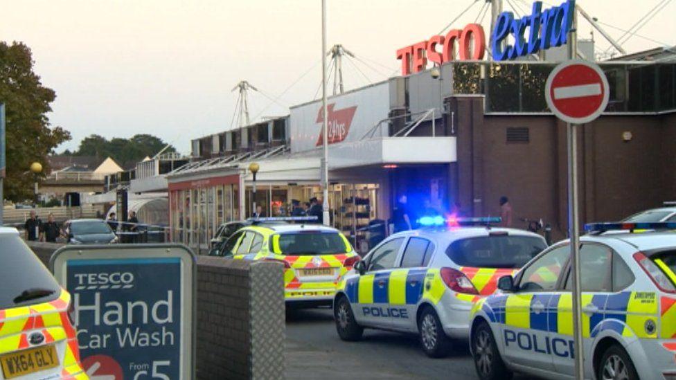 Police cars at Tesco