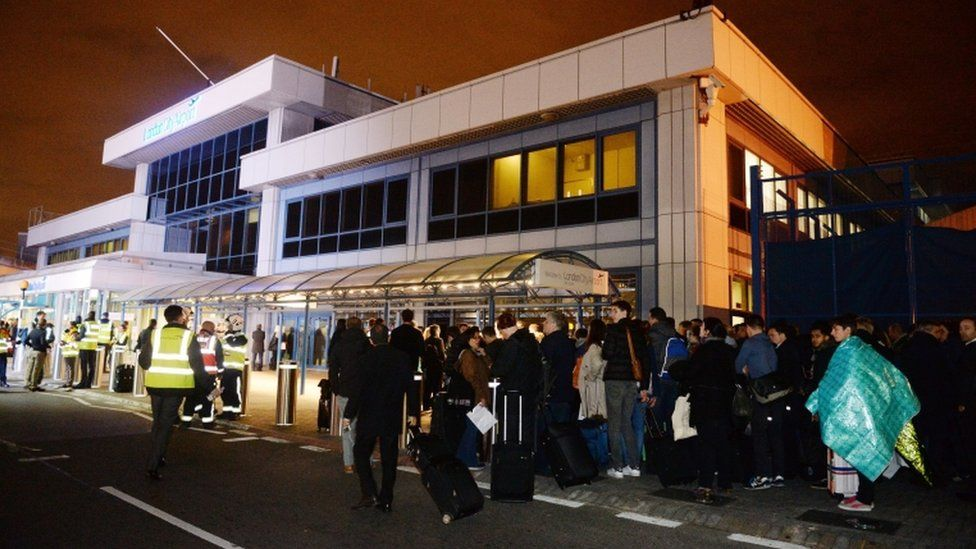 Passengers outside London City Airport
