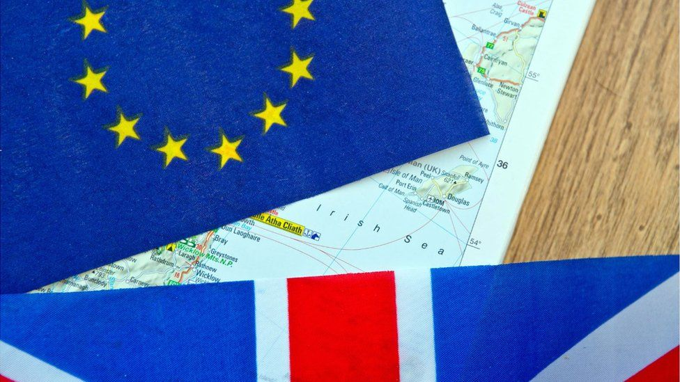 Image of the Irish Sea on a map with a union jack and Euro flag