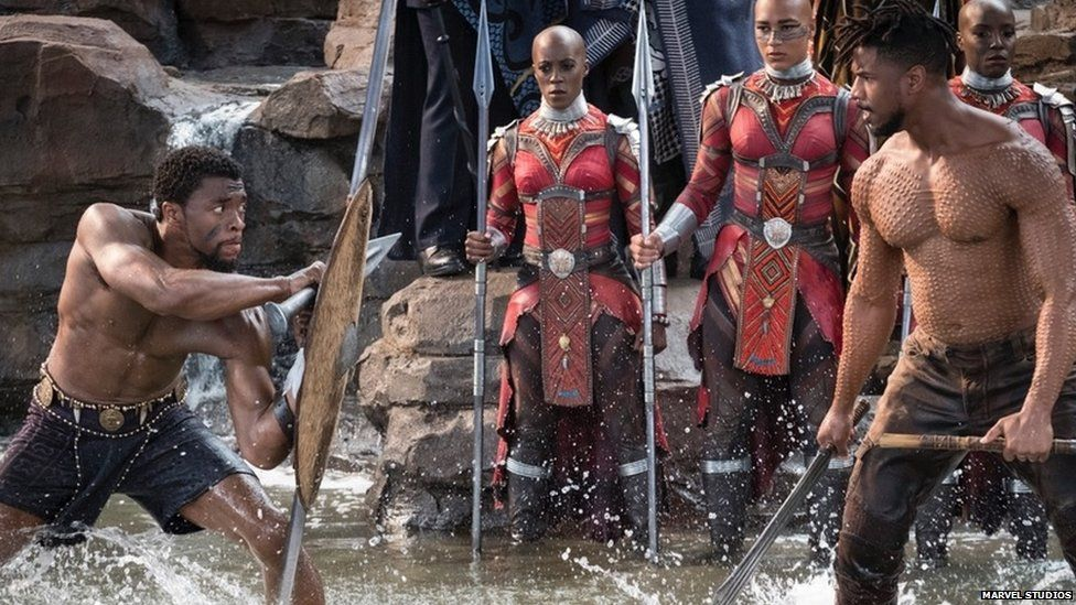 Chadwick Boseman and Michael B. Jordan face off in a scene from Black Panther