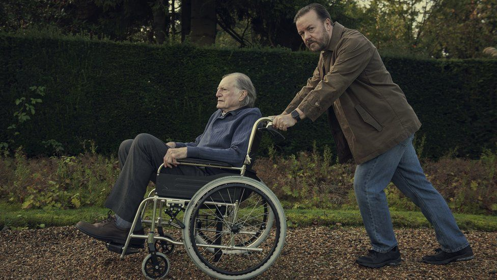 Tony takes his dad Ray (David Bradley) for a spin around the nursing home