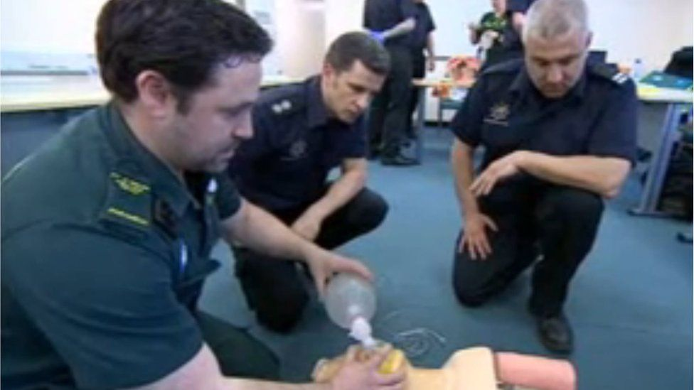 Firefighters learning first aid