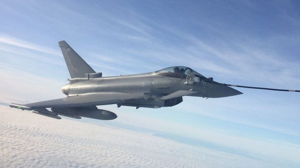 The RAF Typhoon jet refuelling mid-air during the exercise