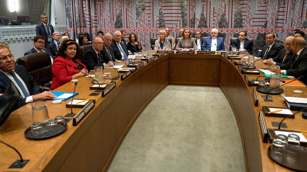 Foreign ministers and other delegates to the seven-party talks at the UN in New York - 20 September