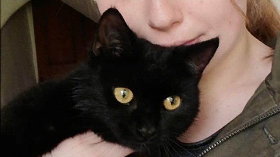 Freya Hill and Flea the cat