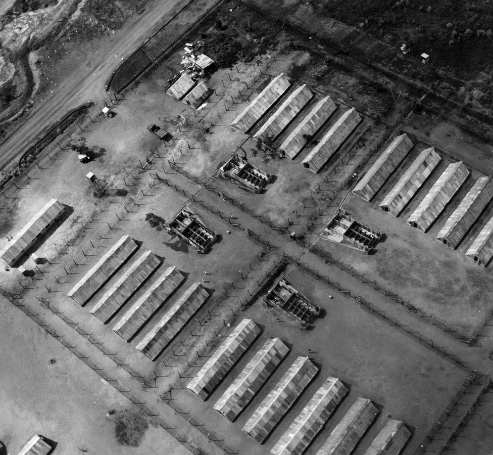 'An aerial view of the 'closed' camp at Hola which houses the Mau Mau detainees who refuse to cooperate with the Kenya Government
