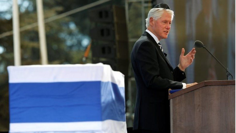 Former US president Bill Clinton delivers a speech at the funeral ceremony for Shimon Peres in Jerusalem, Israel, 30 September 2016.