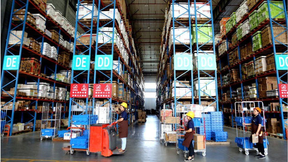 Warehouse of a local supermarket on September 24, 2020 in Lianyungang, Jiangsu Province of China