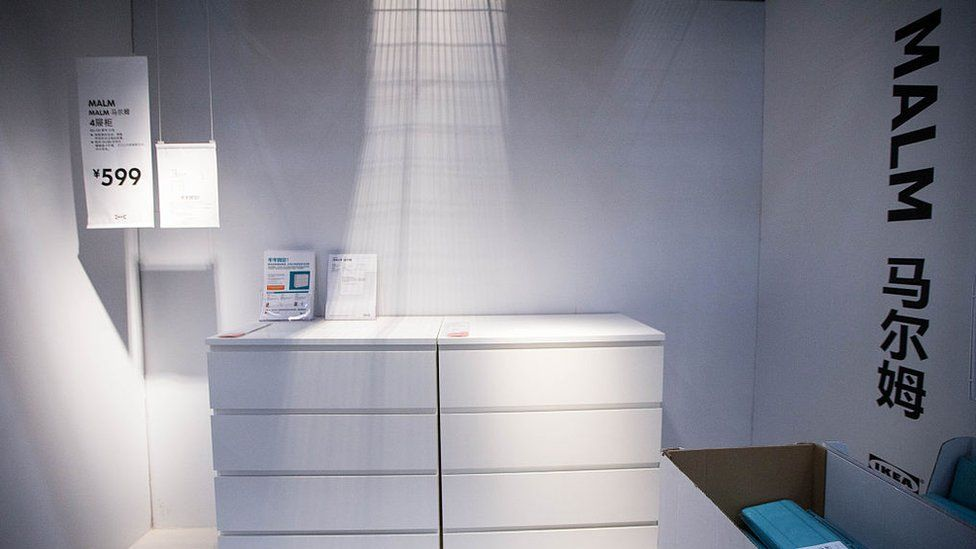 Malm dressers are seen at an Ikea store in China where they were also later recalled
