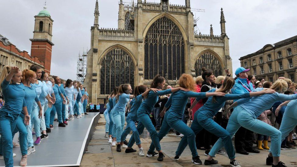 100 pupils from local dance schools put on outdoor performances of Take Flight, based on Swan Lake, in Trinity Square