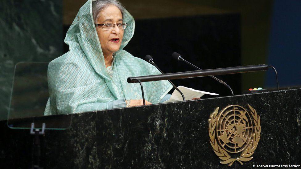 Bangladeshi Prime Minister Sheikh Hasina addresses the United Nations Sustainable Development Summit