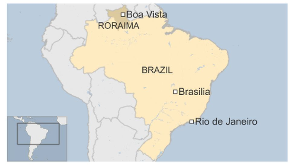 Map of Brazil highlighting the northern Roraima state