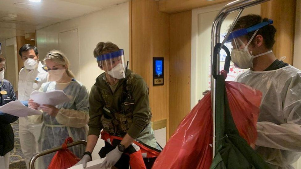 Medical staff prepare to test people on the Grand Princess cruise ship