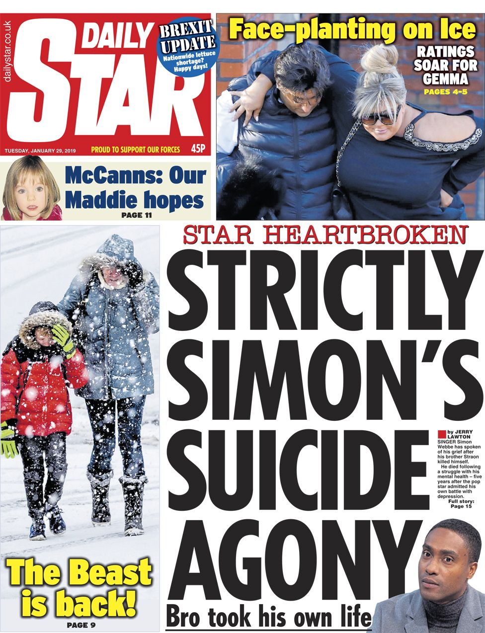 Daily Star front page - 29/01/19