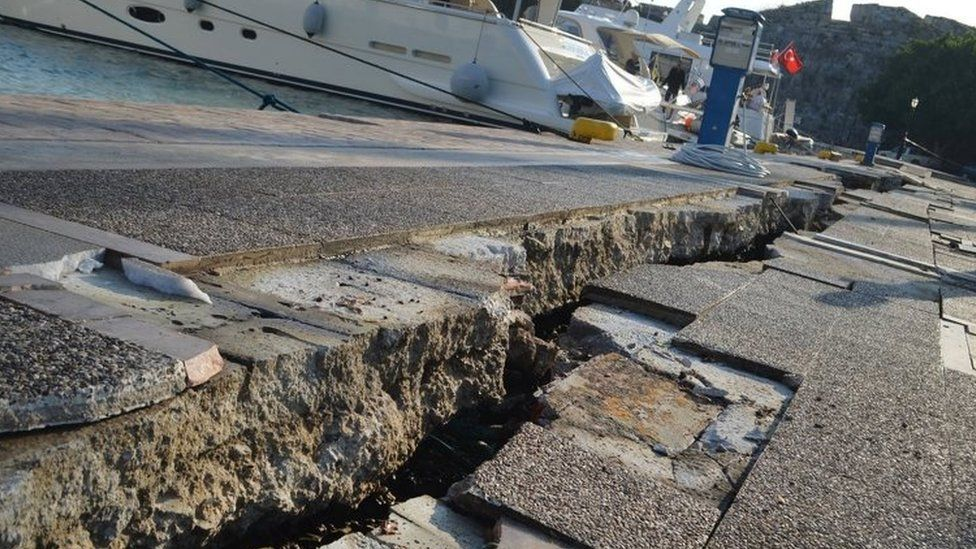 Damage is seen at a port following an earthquake on the island of Kos