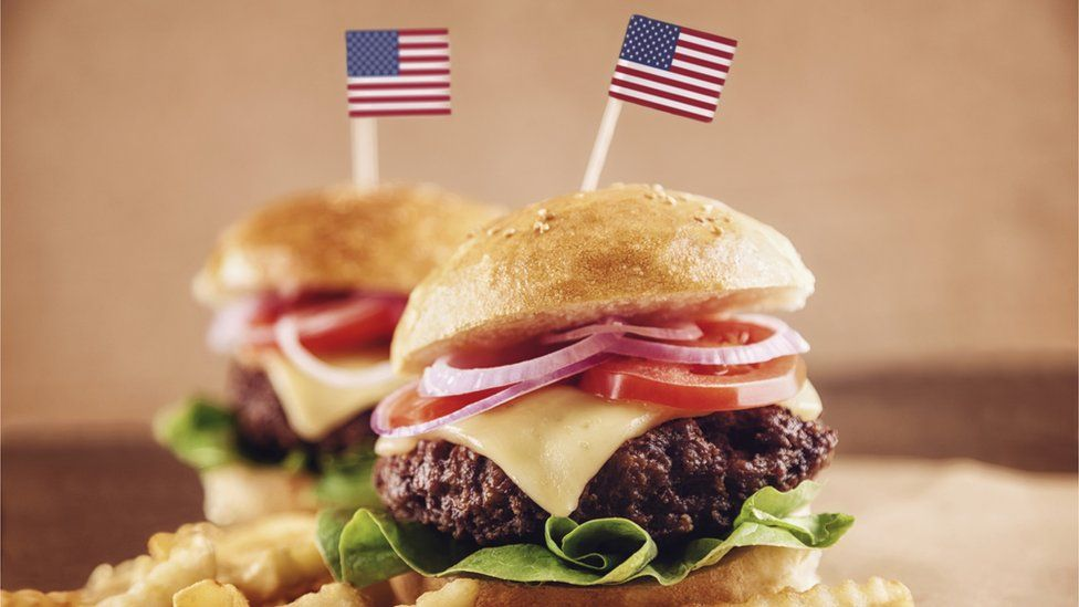 Burgers with American flags in