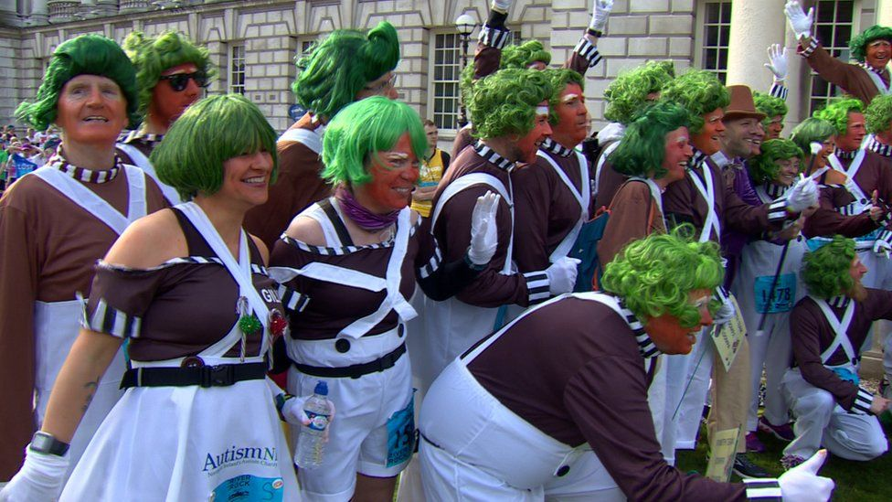 No, they weren't auditioning for a role in Charlie and the Chocolate Factory, they were taking part in the marathon