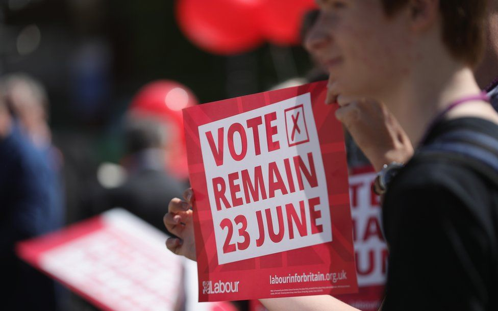 """Students hold a """"Vote Remain"""" sign before the referendum"""