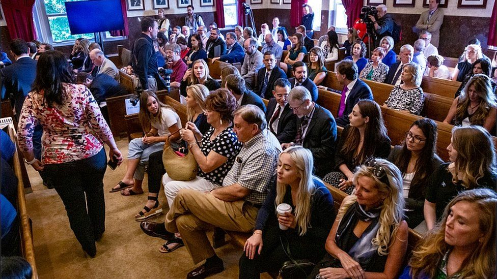 The courtroom fills up before the start of the opioid trial at the Cleveland County Courthouse in Norman, Oklahoma, U.S. May 28, 2019