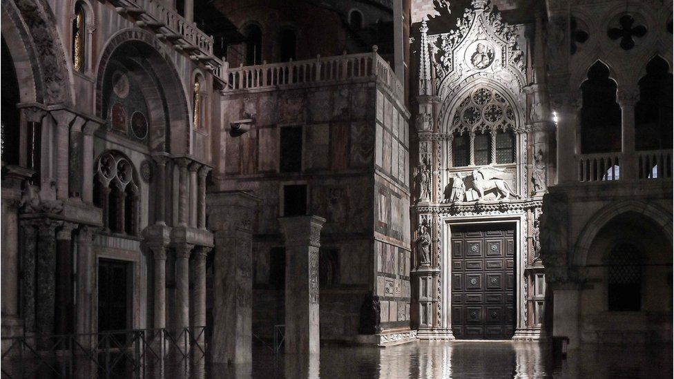 St Mark's Basilica and a section of the Doge's Palace are left flooded