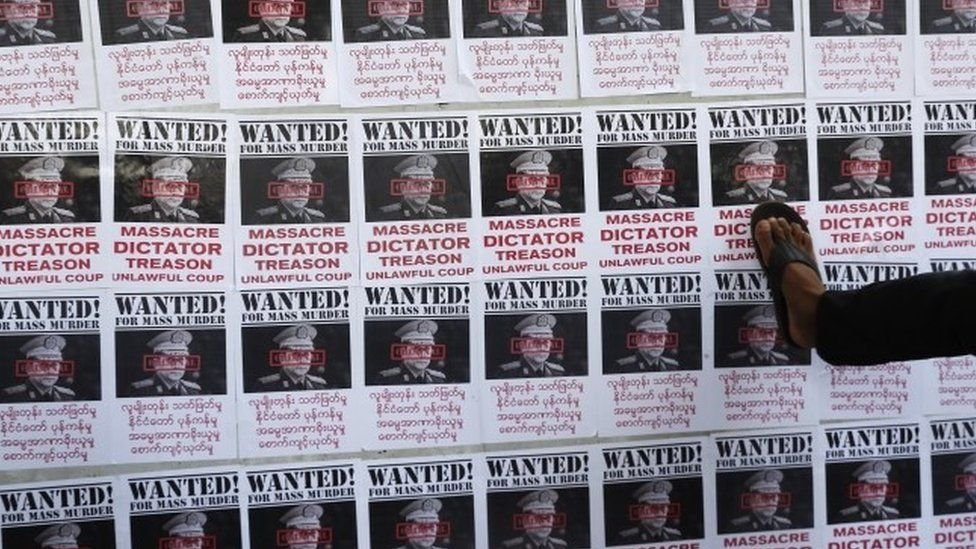 """Mock """"wanted"""" posters show the leader of Myanmar's military"""