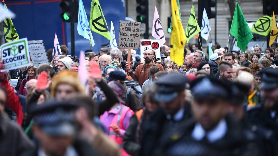 Protesters in Whitehall in London, during an Extinction Rebellion (XR) climate change protest.