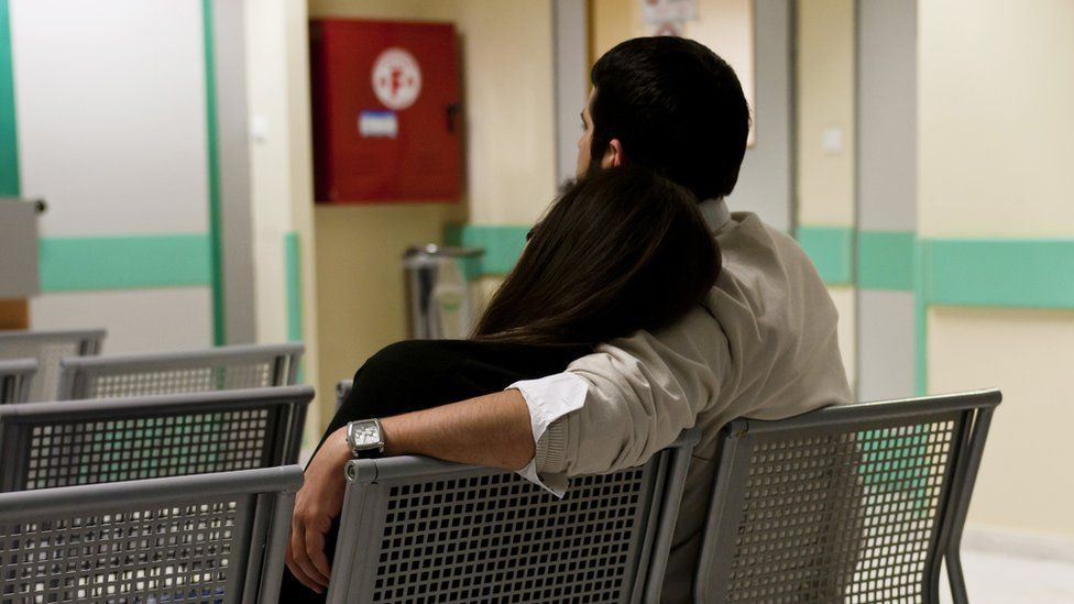 Patients waiting in a Greek hospital (file pic)