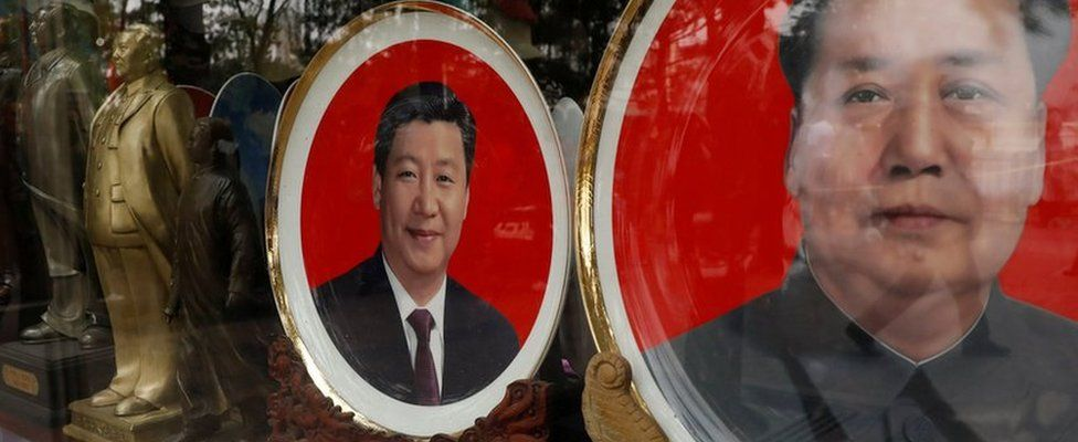 Souvenir plates with images of Chinese late Chairman Mao Zedong and Chinese President Xi Jinping are seen at a shop during the ongoing 19th National Congress of the Communist Party of China, in Beijing, China 21 October 2017.