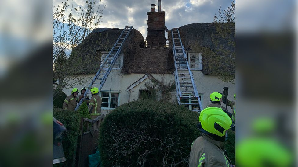 Damaged thatch roof