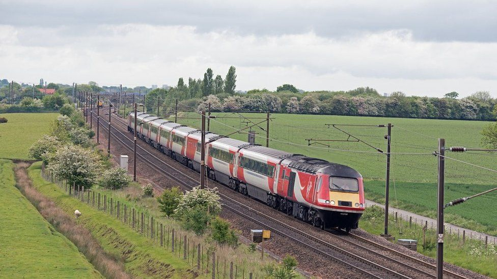 Train travelling south at Colton Junction, near York, taken May 2017
