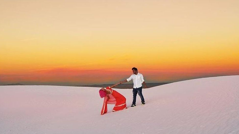 The couple kept a blog of travel photos including this one in White Sands National Monument in New Mexico.
